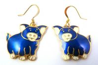 Cloisonne Enamel Blue Pig Drop Earrings.